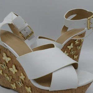 Michael Kors Lacey Butterfly Leather Wedge Size 9M